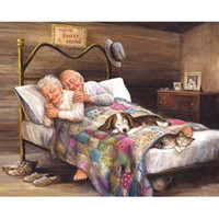 Wholesale Couple Wall Painting - Old Couple 5D DIY Mosaic Needlework Diamond Painting Embroidery Cross Stitch Craft Kit Wall Home Hanging Decor