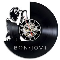 Wholesale great wall decor - Bon Jovi CE Record Wall Clock Creative Art Vinyl Record Wall Clock Great Gift ForMusic Fans Antique&Handmade Classic Home Decor