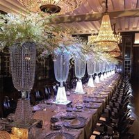"""Wholesale Wholesale Dinner Party Supplies - 80cm(31"""") height Acrylic Crystal Wedding Centerpiece Road Lead Stand Dinner Party Table Decoration Candlestick 10sets lot"""