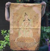 Wholesale painting kwan yin resale online - 36 quot Tibet Buddhism Silk Cloth Kwan Yin Guanyin Goddess Thangka Painting Mural
