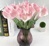 buket yastıkları toptan satış-Yapay calla lily çiçek simülasyon gerçek dokunmatik çiçekler el buketi flores düğün dekorasyon sahte çiçekler parti malzemeleri G724