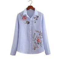 Wholesale White Blouses For Girls - 2018 Spring Office Lady Striped Official Embroideried Blouses Shirts Women Formal Flower Shirt Blouses Tops For Girls GD9033