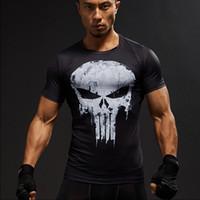 Wholesale black superman t shirt - Short Sleeve 3D T Shirt Men T-Shirt Male Crossfit Tee Captain America Superman tshirt Men Fitness Compression Shirt Punisher MMA