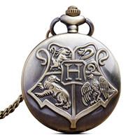 hogwarts taschenuhr groihandel-Retro Quarz Taschenuhr Halskette Kette Anhänger Magie Hogwarts Harry Fob Uhren Geschenke Relogio De Bols