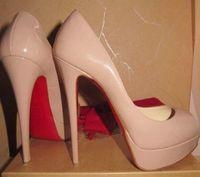 ingrosso le pompe nude offrono scarpe da punta-Classic Brand Red Bottom Tacchi alti 14cm tacco piattaforma pompe Nude / nero in pelle verniciata Peep-toe donne vestito sandali scarpe taglia 35-42
