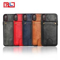 Wholesale s flip case - Flip Lether Case Voor iPhone X 6 6 s 7 Plus Retro Beschermhoes Voor iPhone 8 Plus Portemonnee Kaarthouder 2 in 1 Pouch