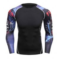 ingrosso lungo sollevamento-All'ingrosso-Uomini Camicie compressione MMA Rashguard Tenere idoneità maniche lunghe Intimo Skin Tight Sollevamento pesi elastico Mens T Shirt