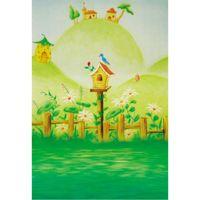 ingrosso piante da giardino casa-Legno Fence Primavera Giardino Foto Sfondo Uccello Nido Piante Fiori Pera Fungo Case Bambini Fairyland Fotografia Sfondi