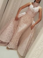 Wholesale sheer over sequin dress - High Neck Over Skirt Evening Formal Dresses Lace Applique Dubai Arabic Mermaid Occasion Prom Dress with Detachable Train