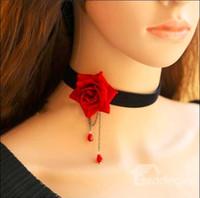 roter schwarzer gotischer choker großhandel-Mode Halsketten für Freundin Retro Schwarz Rot Blume Vintage Gothic False Kragen Kristall Spitze Band Halskette