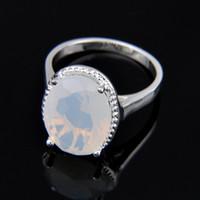 pierres précieuses ovales achat en gros de-5pcs / lot Vrac Prix Cadeau De Noël 925 Argent Sterling Ovale Blanc Pierre De Lune Gemmes De Mode Dame Anneau r0482 NOUVEAU
