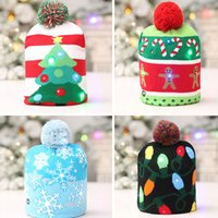 Wholesale lights up hops online - Led Snowman Knitted Beanies Cap For Snowflake Christmas Tree Women Children Warm Hair Ball Light Up Hip Hop Hats WX9