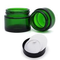 pots crème vert achat en gros de-Pot de verre vert pot de crème à lèvres baume cosmétiques Tube à essai rond en verre avec doublures intérieures en PP 20g 30g pot de cosmétique