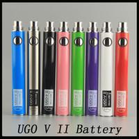 charge ugo v vape 도매-Oringinal Evod UGO V II V 2 650mAh 900mAh 자아 510 건전지 8colors 마이크로 USB 충전 패스 쓰루 E-cig O pen Vape 건전지 0270001