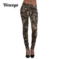 pantalons femme camouflage vert achat en gros de-Weweya Femmes Plus La Taille Camo Army Vert Jeans Maigre Pour Les Femmes Femme Camouflage Crayon Pantalon Déchiré Jeans Trou Trou Pantalon