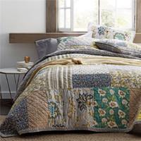 одеяло ручной работы оптовых-Старинные лоскутное одеяло покрывало одеяло Набор 3 шт. стеганые постельные принадлежности ручной работы хлопок одеяла покрывала King Size 234 * 269 покрывало одеяло