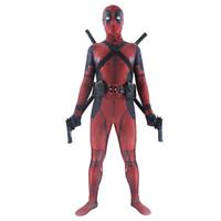 zentai adam toptan satış-Deadpool kostüm yetişkin Adam marvel cosplay deadpool kostümleri erkek çocuklar Wade Wilson Spandex Likra Naylon Zentai bodysuit Cadılar Bayramı