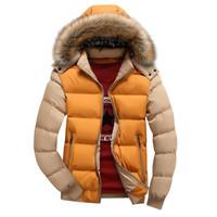 cuello de piel con capucha hombres al por mayor-Hombres chaqueta abajo nueva chaqueta de invierno otoño hombres moda sudadera con capucha engrosada cálido casual abajo abrigo de piel cuello zip hombres chaqueta
