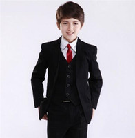 drei stück jungen kleid anzüge großhandel-Drei Stück Schwarze Jacke Jungen Formale Anlass Kleidung Hochzeit Kind Kleid Anzug kinder hochzeitsanzüge (jacke + Pants + Weste)