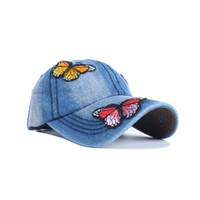Nueva moda de vaquero gorra de béisbol mariposas pegatinas Sanpback  sombreros para mujeres equipado lavado Denim Jeans sombrero Unisex Hip Hop a9e345a725d