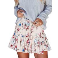 Wholesale Pleated Skater Mini Skirt - Summer Womens Boho Midi Skirts Floral Print Ruffle A Line High Waist Mini Skirt Ladies Bohemian Short Pleated Skater Skirt Saias