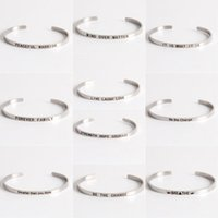 Wholesale Fashion Quote - Fashion Accessories Jewelry Stainless Steel Letter Brave Wish Positive Inspirational Quote Cuff Bangle Gift for Women Lovers'