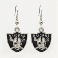 Wholesale silver earrings - Latest Fashion Design Custom Team Oakland Raiders Earring Charm Personality Jewelry Spot