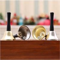 ingrosso campane di natale d'ottone-New Brass Gold / Silver Plated Natale Xmas Santa Jingle Suonerie Hand Bells Decorazione Festeggia Party Toy Christmas Gift