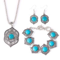 Wholesale china lighting set online - Vintage Bohemian Jewelry Set Collares Exaggerated Fashion Ethnic Chokers Necklaces Bracelets Earrings Turquoises Beads Party Jewelry Sets