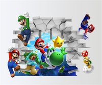 Wholesale 3d art stickers online - 3d View Cartoon Art Wall Sticker Home Decor Super Mario Bros Boy Theme Room Stickers Kids High Quality Pvc hy jj