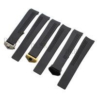 silikonkautschukarmbandbänder großhandel-20mm 22mm Loch Abschnitt Silikonkautschuk mit Edelstahl Schnalle Uhrenarmband Strap Sport Armband Wasserdicht Anti-Schweiß-Strap für TAG + Too