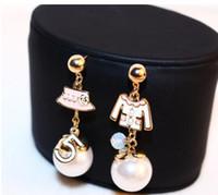 Wholesale drop hangers - Brand Jewellery Esmaltes Women Earrings Number 5 Cap Asymmetrical ABS Pearl Drop Earrings Dangle Long Earings Bijouterie