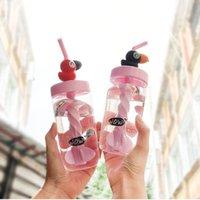 ingrosso grandi bottiglie di plastica-Bottiglia d'acqua di plastica calda 0.4L per il succo con gli uccelli del grande becco Paglia di plastica del bambino la mia bottiglia di acqua ecologica applicabile