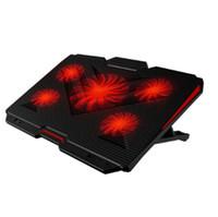 refrigeração portátil venda por atacado-Frete grátis Ice pie notebook radiador (laptop stand / cooling pad / 5 ventilador / velocidade do vento ajustável e suporte / preto)