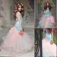 Wholesale t shirts for little girls - Gorgeous Pink Mermaid Flower Girls Dresses 2018 Lace Long Sleeves Tired Tulle Pageant Gowns for Little Girl Children Party Dresses