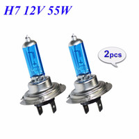 Wholesale H7 Headlight Bulb 12v 55w - 2 Pieces 55W H7 Halogen Bulbs Super White Quartz Glass 12V 5000K Xenon Dark Blue Car HeadLight Bulb Auto Lamp