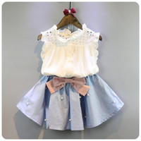 Wholesale Korean Style For Summer - 2-8 Years Kids Clothes for Girls The Bow Skirt and Lace Top Summer Suit Korean Style Children's Clothing Sets Baby Toddler Set