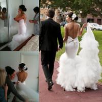Wholesale sexy big long train wedding dress resale online - Sexy Backless Mermaid Wedding Dresses Big Bow On Back Tulle Tiered Long Train Beach Bridal Gowns Custom Made Simple Wedding Vestidos