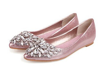 Wholesale Korean Shoes Pink - Women's 2018 Spring and Autumn Korean version of the shallow shallow diamond pointed flat single shoes flat comfortable peas women's shoes