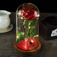 en güzel güzellik toptan satış-Güzellik ve Beast Roses, Rüya Çiçek Kırmızı İpek Gül, LED Işıklı ve Cam Kubbeli Ahşap Taban Üzerine Düşmüş Yaprakları, Düğünlerin En İyisi, Annivers