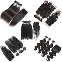 Wholesale 3bundles brazilian weave for sale - Brazilian Virgin Hair Bundles with Closure Body Wave Deep Wave Kinky Curly Wet and Wavy Hair Weaves Closure Bundles Human Hair Lace Closure