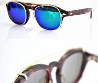 Wholesale vintage sunglasses depp - New cliptosh sunglasses High Quality clips 2 Size Johnny Depp Style Glasses clip Men Retro Vintage Polarized Women 7 color sunglasses clips