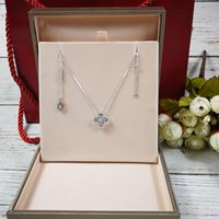 Wholesale b necklace resale online - Luxurious style S925 Sterling Silver brand name pendant necklace with middle and mini size flower and diamonds for women wedding jewelry b