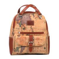 sacs de carte achat en gros de-Vintage carte du monde sac à dos pour les femmes en cuir imperméable sacs mode école sac à dos pour les filles accessoires de voyage cadeaux