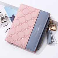 Wholesale cute wallets for girls - Women's Fashion Cute Embossed PU Leather Wallet Tassel Zippers Purse with Coin Pocket for Girls Ladies