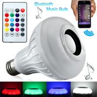 führte bunte bluetooth großhandel-LED-Musikbirne Bluetooth-Lautsprecher für drahtlose Lautsprecher Lampe intelligente Glühlampen RGB-Birne Bunte Lautsprecher mit Fernbedienung für das iPhone x Smartphone
