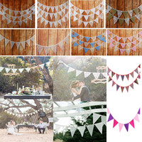Wholesale bunting decor resale online - 12pcs Banner Flags m Lace Pennant Bunting Banner Triangle Shape Hanging Party Wedding Christmas Decor Banners String Flags WX9