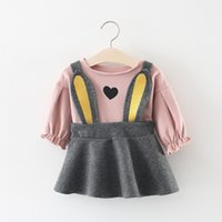 ingrosso maniche di soffio rosa-Everweekend Kids Girls Puff Sleeve Tees con Rabbit Strap Dress 2pcs Sets Princess Pink e Yellow Color Lovely Baby Outfits