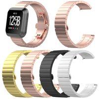 serrures en métal achat en gros de-Accessoires intelligents pour Fitbit Versa Bracelet en acier inoxydable avec maillon de bracelet Bracelet de remplacement en métal avec cadenas à papillon