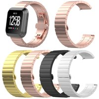 Wholesale metal strap locks resale online - Smart Accessories for Fitbit Versa Stainless Steel Strap Link Bracelet Watch Band Metal Replacement Band With Butterfly Clasp Lock